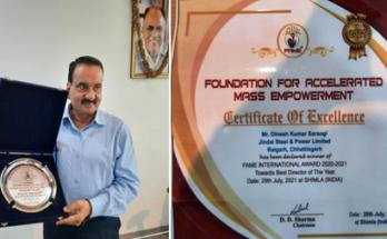 JSPL K. C.O. Chhattisgarh DK Saraogi selected as 'Best Director'