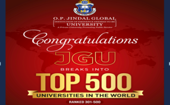 O.P.J.G.U. in Graduate Employability Ranking Including 500 universities in the world